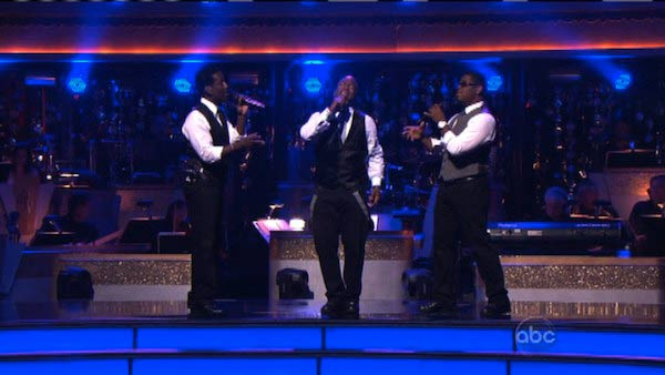 Boyz II Men returned to the ballroom to perform of their latest single, &#39;One More Dance,&#39; off their 20th anniversary album,&#39; Twenty&#39; on &#39;Dancing With The Stars: The Results Show&#39; on Tuesday, April 24, 2012. Their performance was accompanied by Dmitry Chaplin and Anna Trebunskaya. <span class=meta>(ABC Photo)</span>