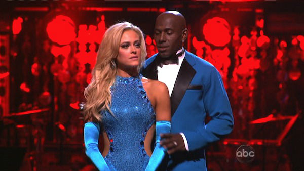 Football star Donald Driver and his partner Peta Murgatroyd await possible elimination on 'Dancing With The Stars: The Results Show' on Tuesday, April 24, 2012.