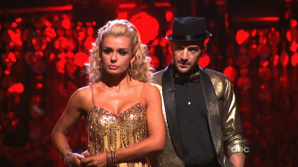 "<div class=""meta ""><span class=""caption-text "">Classical singer Katherine Jenkins and her partner Mark Ballas await possible elimination on 'Dancing With The Stars: The Results Show' on Tuesday, April 24, 2012. The pair received 29 out of 30 points from the judges for their Samba on week six of 'Dancing With The Stars,' which aired on April 23, 2012. (ABC Photo)</span></div>"