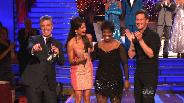 R&#38;B legend Gladys Knight and her partner Tristan MacManus react to being eliminated on &#39;Dancing With The Stars: The Results Show&#39; on Tuesday, April 24, 2012. The pair received 21 out of 30 points from the judges for their Rumba on week six of &#39;Dancing With The Stars,&#39; which aired on April 23, 2012. <span class=meta>(ABC Photo)</span>