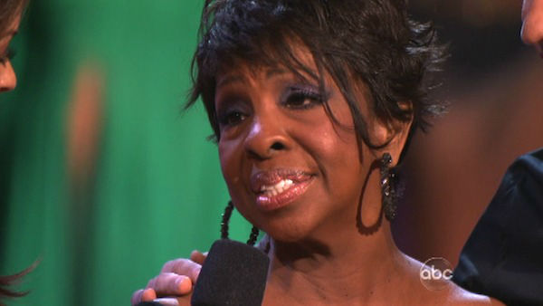 R&B legend Gladys Knight and her partner Tristan MacManus react to being eliminated on 'Dancing With The Stars: The Results Show' on Tuesday, April 24, 2012.
