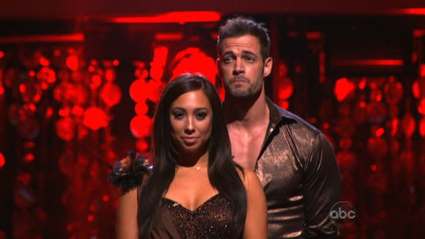 "<div class=""meta ""><span class=""caption-text "">Telenovela star William Levy and his partner Cheryl Burke await possible elimination on 'Dancing With The Stars: The Results Show' on Tuesday, April 24, 2012. The pair received 27 out of 30 points from the judges for their Rumba on week six of 'Dancing With The Stars,' which aired on April 23, 2012. (ABC Photo)</span></div>"