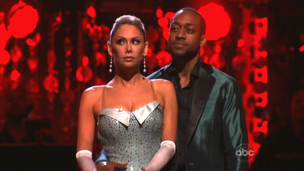 Jaleel White, who played Steve Urkel on &#39;Family Matters,&#39; and his partner Kym Johnson await possible elimination on &#39;Dancing With The Stars: The Results Show&#39; on Tuesday, April 24, 2012. The pair received 29 out of 30 points from the judges for their Cha Cha on week six of &#39;Dancing With The Stars,&#39; which aired on April 23, 2012. <span class=meta>(ABC Photo)</span>
