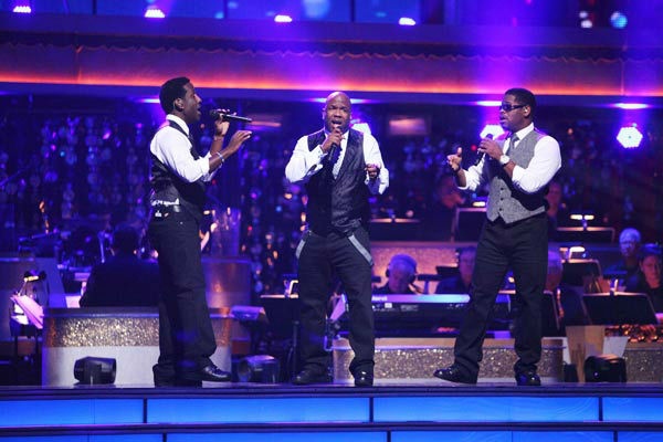 Boyz II Men returned to the ballroom to perform of their latest single, &#39;One More Dance,&#39; off their 20th anniversary album,&#39; Twenty&#39; on &#39;Dancing With The Stars: The Results Show&#39; on Tuesday, April 24, 2012. Their performance was accompanied by Dmitry Chaplin and Anna Trebunskaya. <span class=meta>(ABC Photo&#47; Adam Taylor)</span>