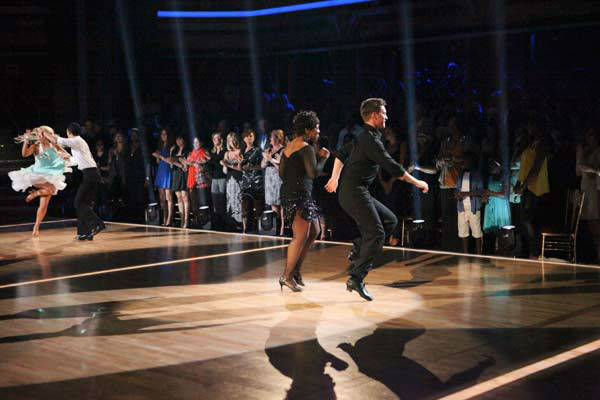 "<div class=""meta ""><span class=""caption-text "">R&B legend Gladys Knight, her partner Tristan MacManus, Disney Channel star Roshon Fegan and his partner Chelsie Hightower perform the Jive on the 'Dance Duel' on 'Dancing With The Stars: The Results Show' on Tuesday, April 24, 2012. (ABC Photo/ Adam Taylor)</span></div>"