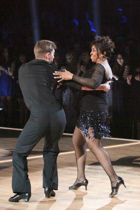 "<div class=""meta ""><span class=""caption-text "">R&B legend Gladys Knight, her partner Tristan MacManus perform the Jive on the 'Dance Duel' on 'Dancing With The Stars: The Results Show' on Tuesday, April 24, 2012. (ABC Photo/ Adam Taylor)</span></div>"