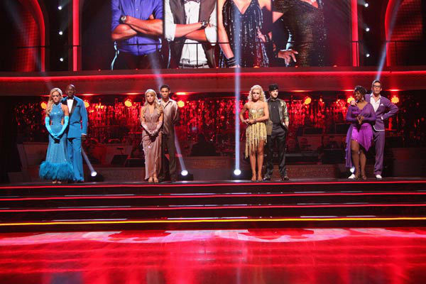 "<div class=""meta ""><span class=""caption-text "">Classical singer Katherine Jenkins and her partner Mark Ballas await possible elimination on 'Dancing With The Stars: The Results Show' on Tuesday, April 24, 2012. The pair received 29 out of 30 points from the judges for their Samba on week six of 'Dancing With The Stars,' which aired on April 23, 2012. (ABC Photo/ Adam Taylor)</span></div>"