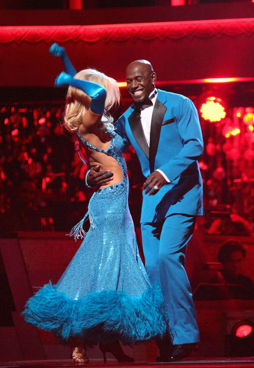 Football star Donald Driver and his partner Peta Murgatroyd react to being safe from elimination on &#39;Dancing With The Stars: The Results Show&#39; on Tuesday, April 24, 2012. The pair received 27 out of 30 points from the judges for their foxtrot to The Temptations&#39; &#39;The Way You Do the Things You Do&#39; on week six of &#39;Dancing With The Stars,&#39; which aired on Monday, April 23, 2012. <span class=meta>(ABC Photo&#47; Adam Taylor)</span>