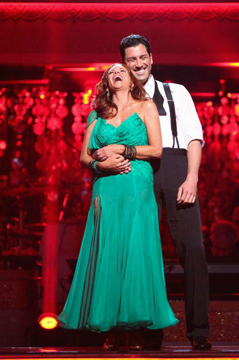 Melissa Gilbert, a former child star who played Laura on &#39;Little House on the Prairie,&#39; and her partner Maksim Chmerkovskiy react to being safe from elimination on &#39;Dancing With The Stars: The Results Show&#39; on Tuesday, April 24, 2012. The pair received 24 out of 30 points from the judges for their Viennese Waltz on week six of &#39;Dancing With The Stars,&#39; which aired on April 23, 2012. <span class=meta>(ABC Photo&#47; Adam Taylor)</span>