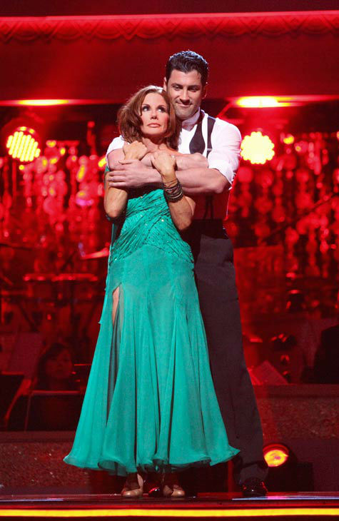 Melissa Gilbert, a former child star who played Laura on &#39;Little House on the Prairie,&#39; and her partner Maksim Chmerkovskiy await possible elimination on &#39;Dancing With The Stars: The Results Show&#39; on Tuesday, April 24, 2012. The pair received 24 out of 30 points from the judges for their Viennese Waltz on week six of &#39;Dancing With The Stars,&#39; which aired on April 23, 2012. <span class=meta>(ABC Photo&#47; Adam Taylor)</span>
