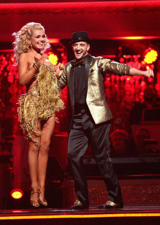 Classical singer Katherine Jenkins and her partner Mark Ballas react to being safe from elimination on 'Dancing With The Stars: The Results Show' on Tuesday, April 24, 2012. The pair received 29 out of 30 points from the judges for their Samba on week six