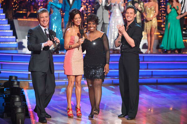 R&#38;B legend Gladys Knight and her partner Tristan MacManus react to being eliminated on &#39;Dancing With The Stars: The Results Show&#39; on Tuesday, April 24, 2012. The pair received 21 out of 30 points from the judges for their Rumba on week six of &#39;Dancing With The Stars,&#39; which aired on April 23, 2012. <span class=meta>(ABC Photo&#47; Adam Taylor)</span>