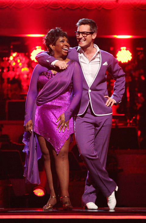 "<div class=""meta ""><span class=""caption-text "">R&B legend Gladys Knight and her partner Tristan MacManus await possible elimination on 'Dancing With The Stars: The Results Show' on Tuesday, April 24, 2012. The pair received 21 out of 30 points from the judges for their Rumba on week six of 'Dancing With The Stars,' which aired on April 23, 2012. (ABC Photo/ Adam Taylor)</span></div>"