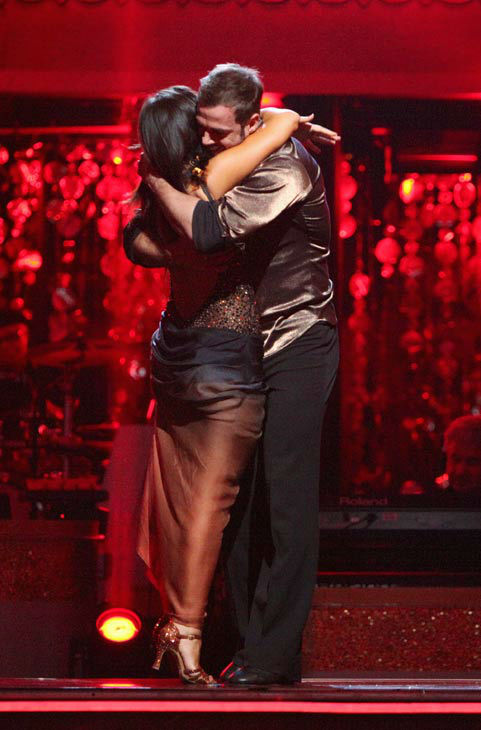 Telenovela star William Levy and his partner Cheryl Burke react to being safe from elimination on &#39;Dancing With The Stars: The Results Show&#39; on Tuesday, April 24, 2012.The pair received 27 out of 30 points from the judges for their Rumba on week six of &#39;Dancing With The Stars,&#39; which aired on April 23, 2012. <span class=meta>(ABC Photo&#47; Adam Taylor)</span>