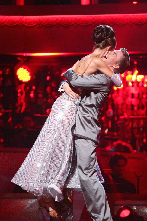 TV personality Maria Menounos and her partner Derek Hough react to being safe from elimination on &#39;Dancing With The Stars: The Results Show&#39; on Tuesday, April 24, 2012. The pair received 26 out of 30 points from the judges for their Fox Trot on week six of &#39;Dancing With The Stars,&#39; which aired on April 23, 2012. <span class=meta>(ABC Photo&#47; Adam Taylor)</span>