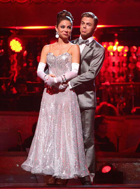 TV personality Maria Menounos and her partner Derek Hough await possible elimination on &#39;Dancing With The Stars: The Results Show&#39; on Tuesday, April 24, 2012. The pair received 26 out of 30 points from the judges for their Fox Trot on week six of &#39;Dancing With The Stars,&#39; which aired on April 23, 2012. <span class=meta>(ABC Photo&#47; Adam Taylor)</span>