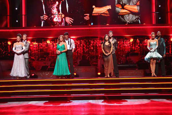 "<div class=""meta ""><span class=""caption-text "">Jaleel White, who played Steve Urkel on 'Family Matters,' and his partner Kym Johnson await possible elimination on 'Dancing With The Stars: The Results Show' on Tuesday, April 24, 2012. The pair received 29 out of 30 points from the judges for their Cha Cha on week six of 'Dancing With The Stars,' which aired on April 23, 2012. (ABC Photo/ Adam Taylor)</span></div>"