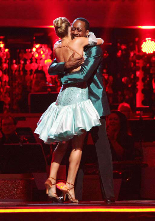 Jaleel White, who played Steve Urkel on &#39;Family Matters,&#39; and his partner Kym Johnson react to being safe from elimination on &#39;Dancing With The Stars: The Results Show&#39; on Tuesday, April 24, 2012. The pair received 29 out of 30 points from the judges for their Cha Cha on week six of &#39;Dancing With The Stars,&#39; which aired on April 23, 2012. <span class=meta>(ABC Photo&#47; Adam Taylor)</span>