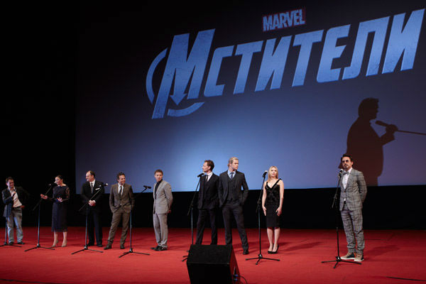 Managing director Walt Disney Company Russia Marina Jigalova-Ozkan, producer Kevin Feige, Mark Ruffalo, Jeremy Latcham,  Chris Hemsworth, Tom Hiddleston, Scarlett Johansson and  Robert Downey, Jr attend the Russian Premiere of 'Marvel's The Avengers' held