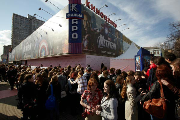 Oktyabr cinema hall there was the Russian Premiere of 'Marvel's The Avengers' held at Oktyabr cinema on April 17, 2012 in Moscow, Russia.
