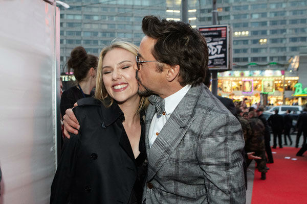 Robert Downey, Jr. and Scarlett Johansson attend the Russian Premiere of 'Marvel's The Avengers' held at Oktyabr cinema on April 17, 2012 in Moscow, Russia.