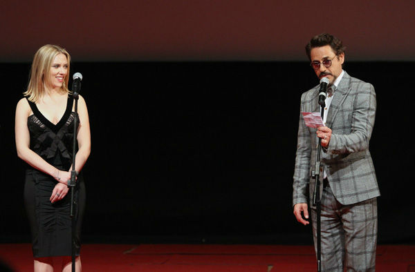 Robert Downey, Jr. and Scarlett Johansson attend the Russian Premiere of &#39;Marvel&#39;s The Avengers&#39; held at Oktyabr cinema on April 17, 2012 in Moscow, Russia.  <span class=meta>(Disney&#47;Marvel Photo&#47;Oleg Nikishin)</span>