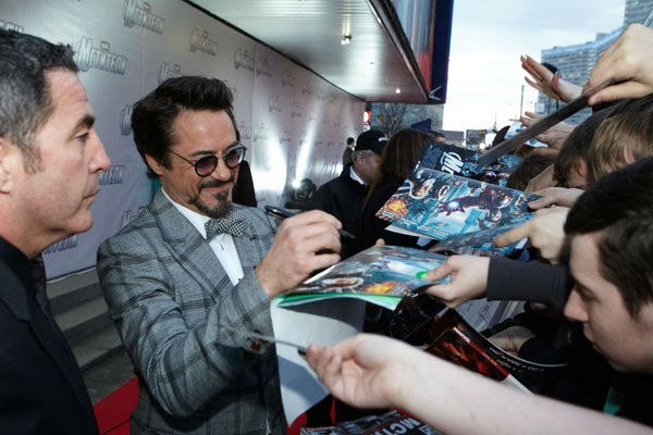 "<div class=""meta ""><span class=""caption-text "">Robert Downey Jr.  attends the Russian Premiere of 'Marvel's The Avengers' held at Oktyabr cinema on April 17, 2012 in Moscow, Russia. (Disney/Marvel Photo/Oleg Nikishin)</span></div>"