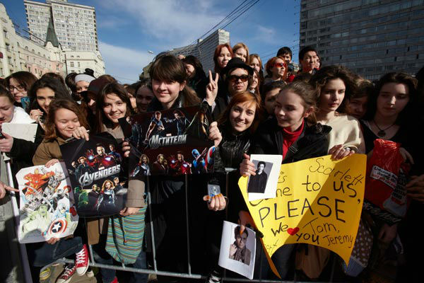 Fans at the Russian Premiere of 'Marvel's The...