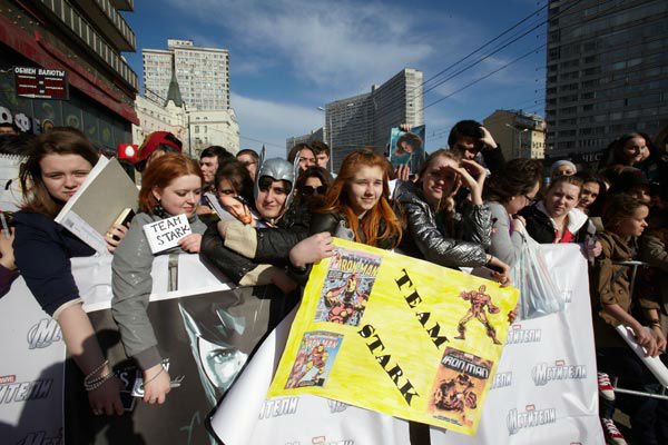 Fans at the Russian Premiere of 'Marvel's The Avengers' held at Oktyabr cinema on April 17, 2012 in Moscow, Russia.