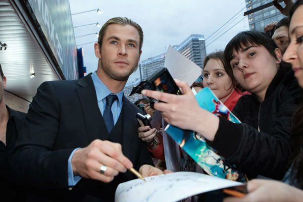 Chris Hemsworth attends the Russian Premiere of 'Marvel's The Avengers' held at Oktyabr cinema on April 17, 2012 in Moscow, Russia.