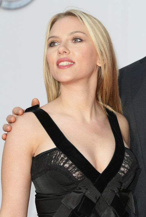 Scarlett Johansson attends the Russian Premiere of 'Marvel's The Avengers' held at Oktyabr cinema on April 17, 2012 in Moscow, Russia.