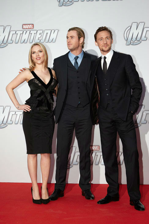 Scarlett Johansson, Chris Hemsworth and Tom Hiddleston attend the Russian Premiere of &#39;Marvel&#39;s The Avengers&#39; held at Oktyabr cinema on April 17, 2012 in Moscow, Russia.  <span class=meta>(Disney&#47;Marvel Photo&#47;Oleg Nikishin)</span>