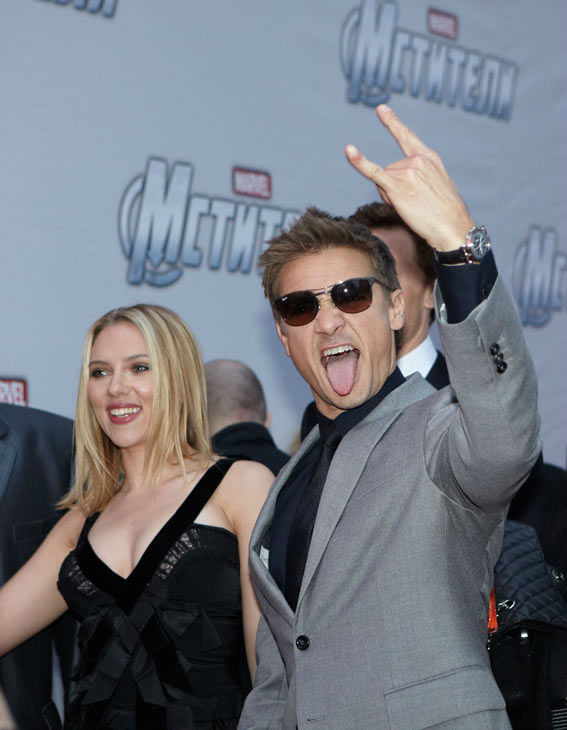 "<div class=""meta ""><span class=""caption-text "">Jeremy Renner and Scarlett Johansson attend the Russian Premiere of 'Marvel's The Avengers' held at Oktyabr cinema on April 17, 2012 in Moscow, Russia. (Disney/Marvel Photo/Oleg Nikishin)</span></div>"