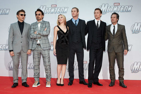Jeremy Renner, Robert Downey, Jr, Scarlett Johansson, Chris Hemsworth, Tom Hiddleston and Mark Ruffalo attend the Russian Premiere of 'Marvel's The Avengers' held at Oktyabr cinema on April 17, 2012 in Moscow, Russia.
