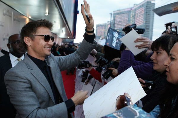 "<div class=""meta ""><span class=""caption-text "">Jeremy Renner attends the Russian Premiere of 'Marvel's The Avengers' held at Oktyabr cinema on April 17, 2012 in Moscow, Russia. (Disney/Marvel Photo/Oleg Nikishin)</span></div>"