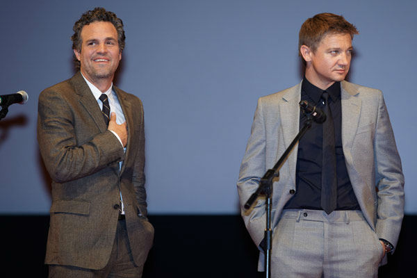 Mark Ruffalo and Jeremy Renner attend the Russian Premiere of 'Marvel's The Avengers' held at Oktyabr cinema on April 17, 2012 in Moscow, Russia.
