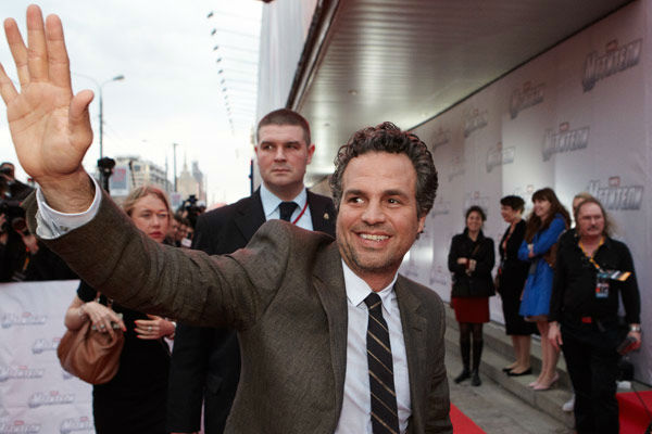 "<div class=""meta ""><span class=""caption-text "">Mark Ruffalo attends the Russian Premiere of 'Marvel's The Avengers' held at Oktyabr cinema on April 17, 2012 in Moscow, Russia.  (Disney/Marvel Photo/Oleg Nikishin)</span></div>"