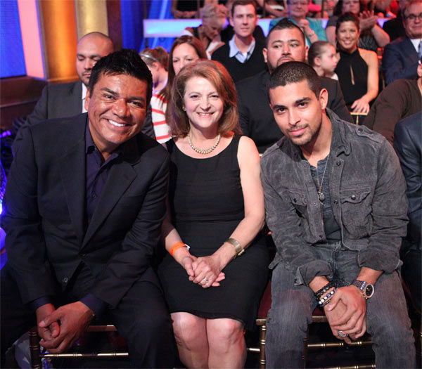 Actors George Lopez and Wilmer Valderrama appear in the 'Dancing With The Stars' audience on Monday, April 30, 2012.