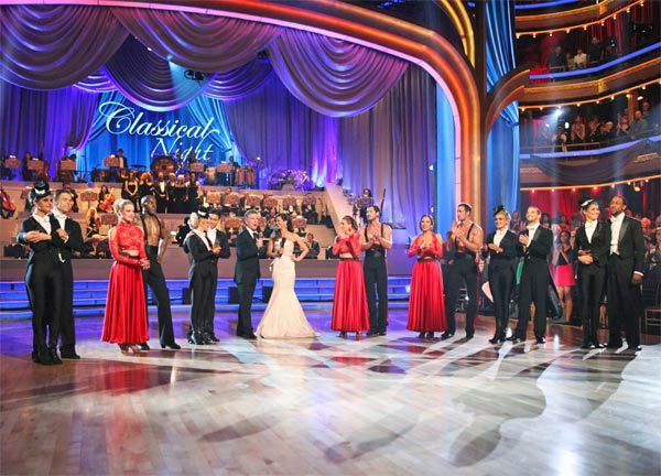 Hosts Tom Bergeron and Brooke Burke Charvet appear with the remaining seven couples -- Maria Menounos, Derek Hough, Peta Murgatroyd, Donald Driver, Chelsie Hightower, Roshon Fegan, Melissa Gilbert, Maksim Chmerkovskiy, Cheryl Burke, William Levy, Katherine Jenkins, Mark Ballas, Kym Johnson and Jaleel White -- on &#39;Dancing With The Stars&#39; on Monday, April 30, 2012. <span class=meta>(ABC Photo&#47; Adam Taylor)</span>