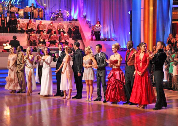 The remaining seven couples -- Kym Johnson, Jaleel White, Katherine Jenkins, Mark Ballas, Cheryl Burke, William Levy, Melissa Gilbert, Maksim Chmerkovskiy, Chelsie Hightower, Roshon Fegan, Peta Murgatroyd, Donald Driver, Maria Menounos and Derek Hough -- appear on &#39;Dancing With The Stars&#39; on Monday, April 30, 2012. <span class=meta>(ABC Photo&#47; Adam Taylor)</span>