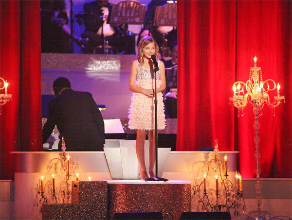 "<div class=""meta ""><span class=""caption-text "">Soprano prodigy Jackie Evancho (pictured) performed 'Dark Waltz' during a pro dance performance with Tristan MacManus and Karina Smirnoff on 'Dancing With The Stars' on Monday, April 30, 2012. (ABC Photo/ Adam Taylor)</span></div>"