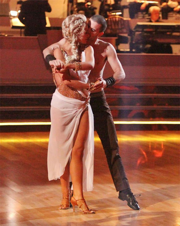 Classical singer Katherine Jenkins and her partner Mark Ballas received 27 out of 30 points from the judges for their Rumba on week seven of &#39;Dancing With The Stars,&#39; which aired on Monday, April 30, 2012. <span class=meta>(ABC Photo&#47; Adam Taylor)</span>