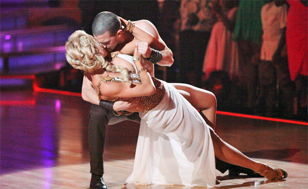 "<div class=""meta ""><span class=""caption-text "">Classical singer Katherine Jenkins and her partner Mark Ballas received 27 out of 30 points from the judges for their Rumba on week seven of 'Dancing With The Stars,' which aired on Monday, April 30, 2012. (ABC Photo/ Adam Taylor)</span></div>"