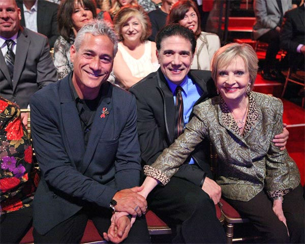 Greg Louganis, Corky Ballas and Florence Henderson appear in the 'Dancing With The Stars' audience on Monday, April 30, 2012.