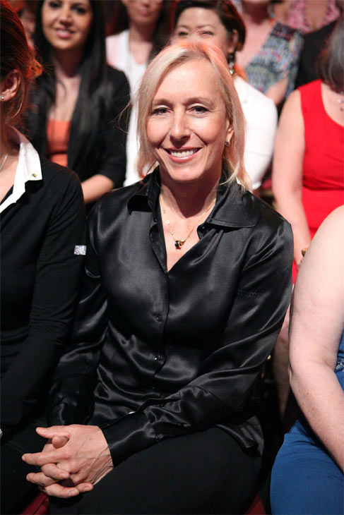"<div class=""meta ""><span class=""caption-text "">Tennis legend Martina Navratilova, who was the first celeb to be sent home this season, appears in the 'Dancing With The Stars' audience on Monday, April 30, 2012.   (ABC Photo/ Adam Taylor)</span></div>"