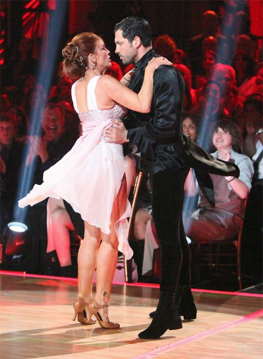 "<div class=""meta ""><span class=""caption-text "">Melissa Gilbert, a former child star who played Laura on 'Little House on the Prairie,' and her partner Maksim Chmerkovskiy received 21 out of 30 points from the judges for their Argentine Tango on week 7 of 'Dancing With The Stars,' which aired on Monday, April 30, 2012. (ABC Photo/ Adam Taylor)</span></div>"