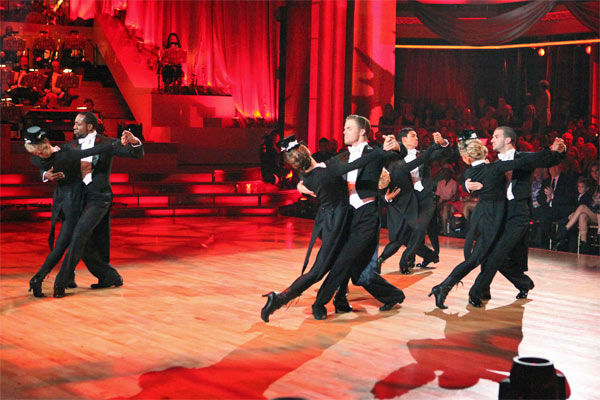 "<div class=""meta image-caption""><div class=""origin-logo origin-image ""><span></span></div><span class=""caption-text"">Team Tango -- Katherine Jenkins, Mark Ballas, Maria Menounos, Derek Hough, Roshon Fegan, Chelsie Hightower, Jaleel White and Kym Johnson-- received 27 out of 30 points from the judges on week 7 of 'Dancing With The Stars,' which aired on Monday, April 30, 2012. (ABC Photo/ Adam Taylor)</span></div>"