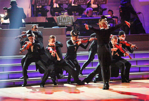 Team Tango -- Katherine Jenkins, Mark Ballas, Maria Menounos, Derek Hough, Roshon Fegan, Chelsie Hightower, Jaleel White and Kym Johnson-- received 27 out of 30 points from the judges on week 7 of &#39;Dancing With The Stars,&#39; which aired on Monday, April 30, 2012. <span class=meta>(ABC Photo&#47; Adam Taylor)</span>