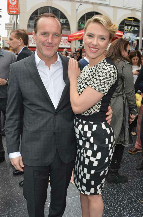 Actor Clark Gregg &#40;L&#41; poses with actress Scarlett Johansson as she is honored on the Hollywood Walk of Fame on May 2, 2012 in Hollywood, California.   <span class=meta>(Alberto E. Rodriguez&#47;WireImage)</span>