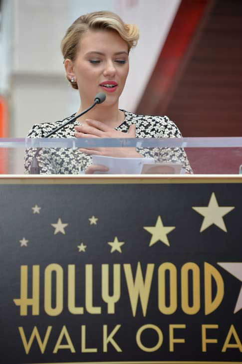 Scarlett Johansson is honored on the Hollywood Walk of Fame on May 2, 2012 in Hollywood, California.